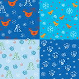Seamless holidays pattern set Stock Photo