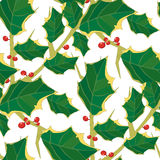 Seamless Holly Pattern Royalty Free Stock Photography