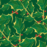 Seamless Holly Wallpaper Pattern. Seamless Wallpaper Tile - This pattern repeats on all sides. You can use it to fill your own custom shapes and backgrounds Stock Image