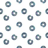 Seamless Shining Holographic Stickers Pattern. Seamless Holographic Shining Stickers Pattern. Donuts on white Royalty Free Stock Images
