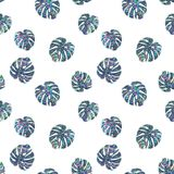 Seamless Shining Holographic Stickers Pattern. Seamless Holographic Shining Stickers Pattern. Monstera leaf Stock Photos