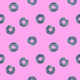Seamless Shining Holographic Stickers Pattern. Seamless Holographic Stickers Pattern. Donuts on pink Royalty Free Stock Photos