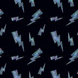 Seamless Shining Holographic Stickers Pattern. Seamless Holographic Stickers Pattern. Lightning on black Stock Photography
