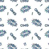 Seamless Shining Holographic Stickers Pattern. Seamless Holographic Stickers Pattern. OMG and exclamation point Royalty Free Stock Image
