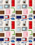 Seamless home appliances pattern. Vector drawing Royalty Free Stock Photography
