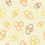 Seamless honey pattern with outlined honey bees and honey cells stock illustration