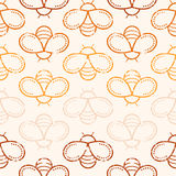 Seamless honey pattern with outlined honey bees Stock Photography