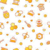Seamless honey pattern with stroked beekeeping signs Stock Images