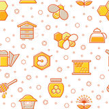 Seamless honey pattern with stroked honey bees, bee cells, beehives and beekeeping signs. Royalty Free Stock Images