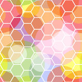 Seamless honeycomb and transparent dots pattern. Intesting and dynamic colorful seamless pattern made of transparent dots overlayed with a white honeycomb Royalty Free Stock Photography