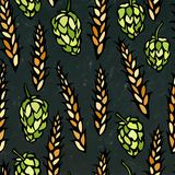 Seamless with Hop and Malt. Beer Pattern. Isolated Isolated on a Black Chalkboard Background. Realistic Doodle Cartoon Royalty Free Stock Photography
