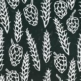 Seamless with Hop and Malt. Beer Pattern. Isolated Isolated on a Black Chalkboard Background. Realistic Doodle Cartoon Royalty Free Stock Photos