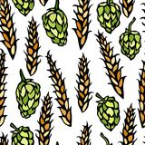 Seamless with Hop and Malt. Beer Pattern. Isolated On a White Background Realistic Doodle Cartoon Style Hand Drawn Stock Image