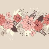 Seamless horisontal floral pink pattern Royalty Free Stock Image