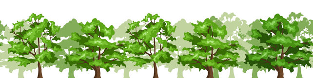 Seamless horisontalbakgrund med trees. Arkivbilder