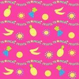 seamless horisontalmodell Tropiska frukter, sol och bokstäver stock illustrationer