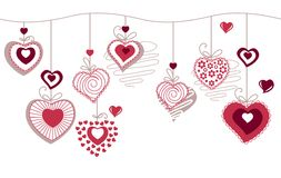 Seamless Horizonatal Pattern With Contour Hearts Royalty Free Stock Photos