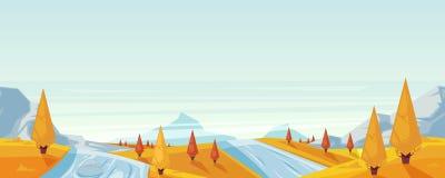 Seamless horizontal autumn landscape background. Vector fall season illustration of mountains, hills, lake. Seamless horizontal autumn landscape background Stock Illustration