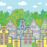 Seamless horizontal background with houses and trees Royalty Free Stock Photography