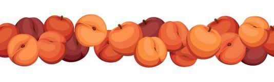 Seamless horizontal background with peaches. Stock Photos