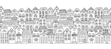 Seamless horizontal banner with cute little houses Stock Photography