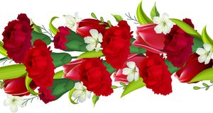 Seamless horizontal border with carnations and Royalty Free Stock Photo