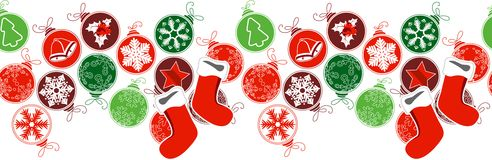 Seamless horizontal border with Christmas decoration Royalty Free Stock Photography