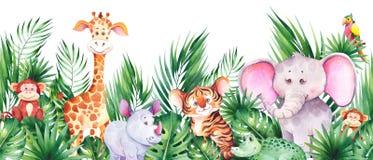 Seamless horizontal border with cute african cartoon animals.