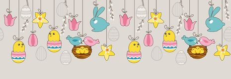 Seamless horizontal border with hanging eggs Royalty Free Stock Photography