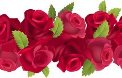 Seamless horizontal border with red roses Stock Photos