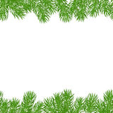 Seamless horizontal borders. Seamless horizontal different borders of green spruce branches, covered with snow and snowflakes. Christmas festive background. Hand Stock Photos