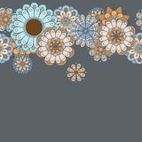 Orizontal borders with flowers in pastel colors on a gray background stock illustration