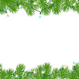 Seamless horizontal borders. With glowing electric festive garlands on a white background. Christmas pattern. Isolated. Vector illustration Stock Photo