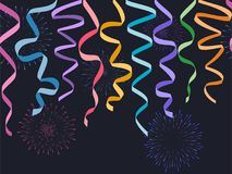 Seamless horizontal decorative serpentines with fireworks on dark background, vector colorful ribbons and celebration salute for f. Ooters and banners vector illustration
