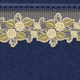Seamless horizontal denim background with lace floral tape. Royalty Free Stock Photo
