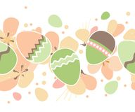 Seamless horizontal easter pattern with eggs Royalty Free Stock Photos