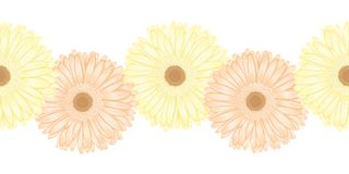 Seamless horizontal frame element of gerbera flower Royalty Free Stock Photos