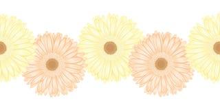 Seamless horizontal frame element of gerbera flower Royalty Free Stock Photos
