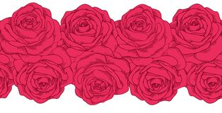 Seamless horizontal frame element of roses Royalty Free Stock Photos