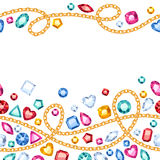 Seamless horizontal gemstones and chains pattern. Stock Photos