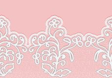 Seamless horizontal lace border with flowers. White lace on a pink background. Stock Photography