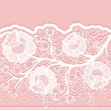 Seamless horizontal lace ribbon with unusual floral pattern. Royalty Free Stock Images