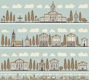 Seamless horizontal ornament old European city Royalty Free Stock Photo
