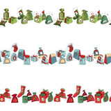 Seamless horizontal  pattern brush with  Christmas Stock Images