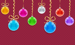Seamless horizontal pattern for Christmas card with balls and ribbons Royalty Free Stock Images