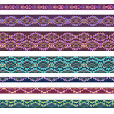 Seamless horizontal pattern with decorative elements. Vector set . Stock Photo