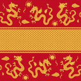 Seamless horizontal pattern of the dragon in vecto Royalty Free Stock Image