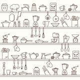 Seamless horizontal pattern with kitchen shelves full of various kitchen items and tools. stock illustration