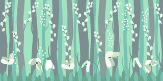 Seamless horizontal pattern with snowdrops Stock Photo