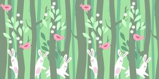 Seamless horizontal pattern with trees and rabbits Stock Photo